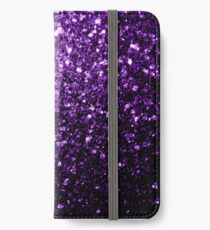 Wunderschöne Dark Purple Glitter funkelt iPhone Flip-Case/Hülle/Klebefolie