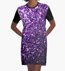 Beautiful Dark Purple glitter sparkles Graphic T-Shirt Dress