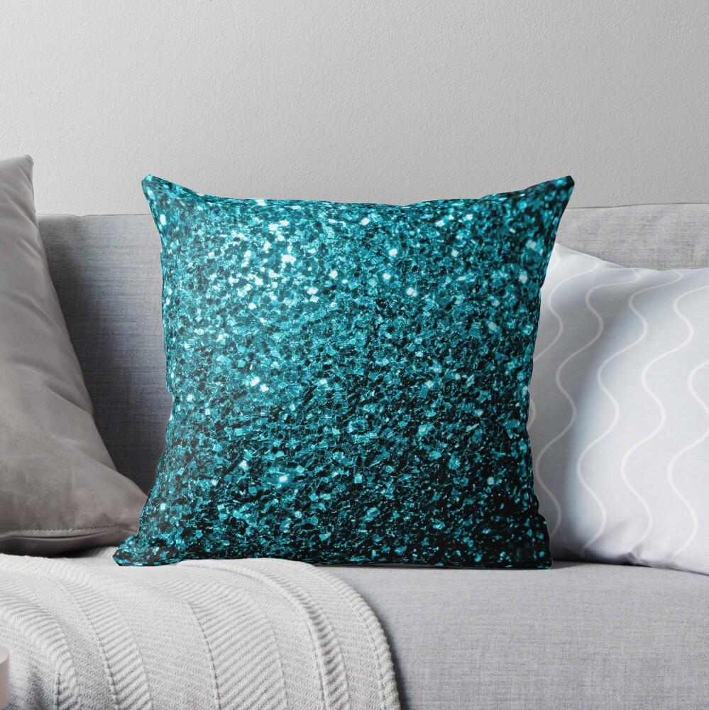 Hermosa Aqua azul brillo brilla Cojín