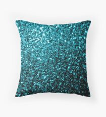 Beautiful Aqua blue glitter sparkles Throw Pillow