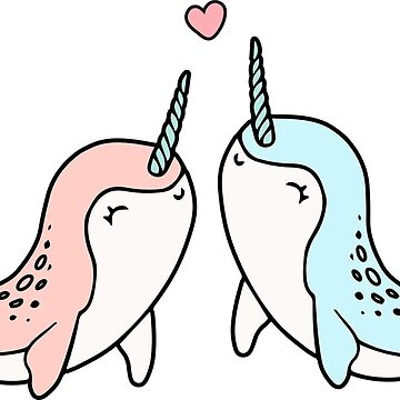 Cute Couple Narwhal in Love - Narwhale the Unicorn of the Sea by DoodleJourney