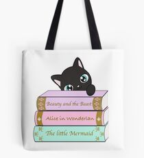 Beauty and the beast Alice in Wonderland The little mermaid cat book lovers Tote Bag