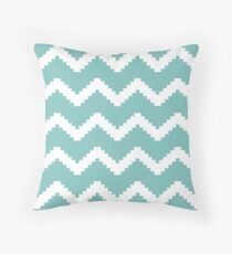 Zigzag geometric pattern - blue and white. Throw Pillow