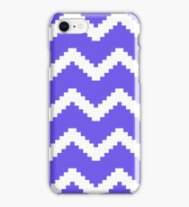 Zigzag geometric pattern - blue and white. iPhone Case/Skin