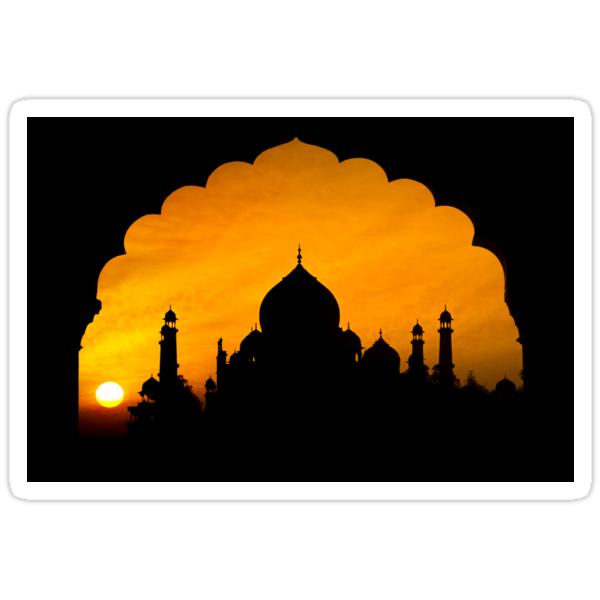 Fluted Arch Taj Mahal - Sticker by Glen Allison