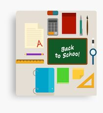 School Supplies Pattern - Back to School Time Canvas Print