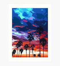 Sunset on Venice Beach  Art Print