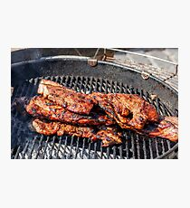 A piece of fried on the fire meat Photographic Print