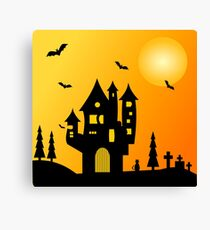 Halloween Haunted Mansion Canvas Print