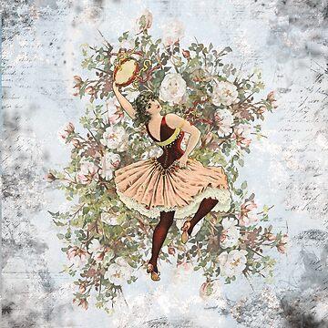 Vintage Dancing Gypsy Tambourine Floral by wensteve