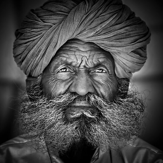 Old Rajasthani Man - Travel fine art Photographic Print by Glen Allison