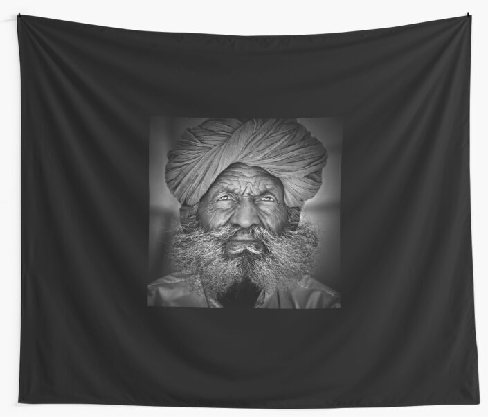 Old Rajasthani Man - Wall Tapestry by Glen Allison