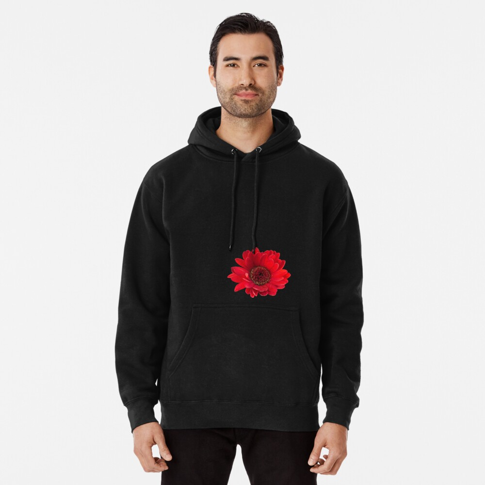 Close up photograph of a red gerbera flower Pullover Hoodie