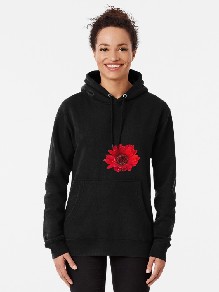 Alternate view of Close up photograph of a red gerbera flower Pullover Hoodie