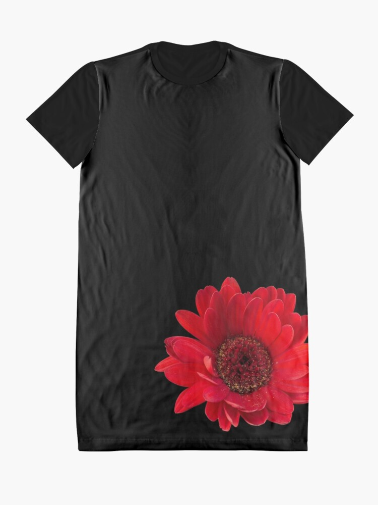 Alternate view of Close up photograph of a red gerbera flower Graphic T-Shirt Dress