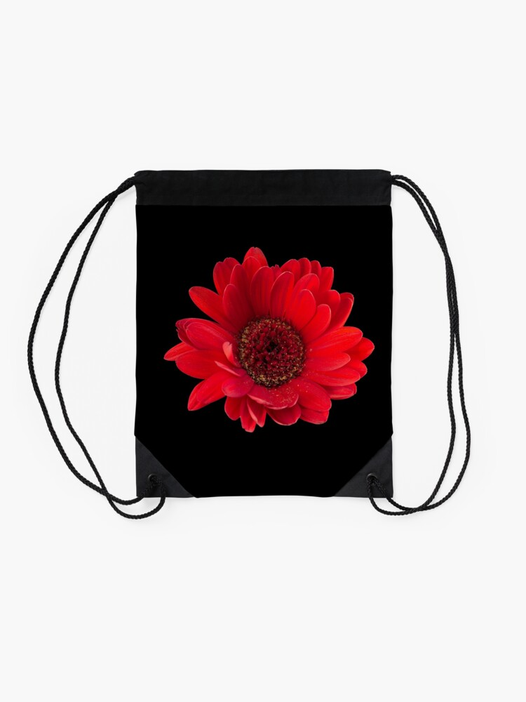 Alternate view of Close up photograph of a red gerbera flower Drawstring Bag
