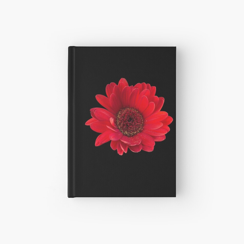 Close up photograph of a red gerbera flower Hardcover Journal