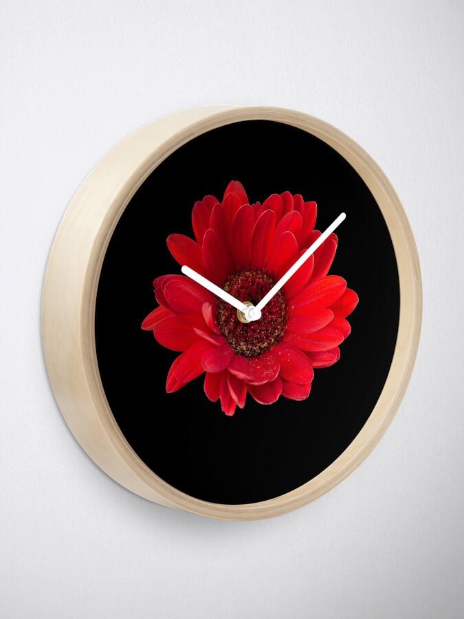 Alternate view of Close up photograph of a red gerbera flower Clock