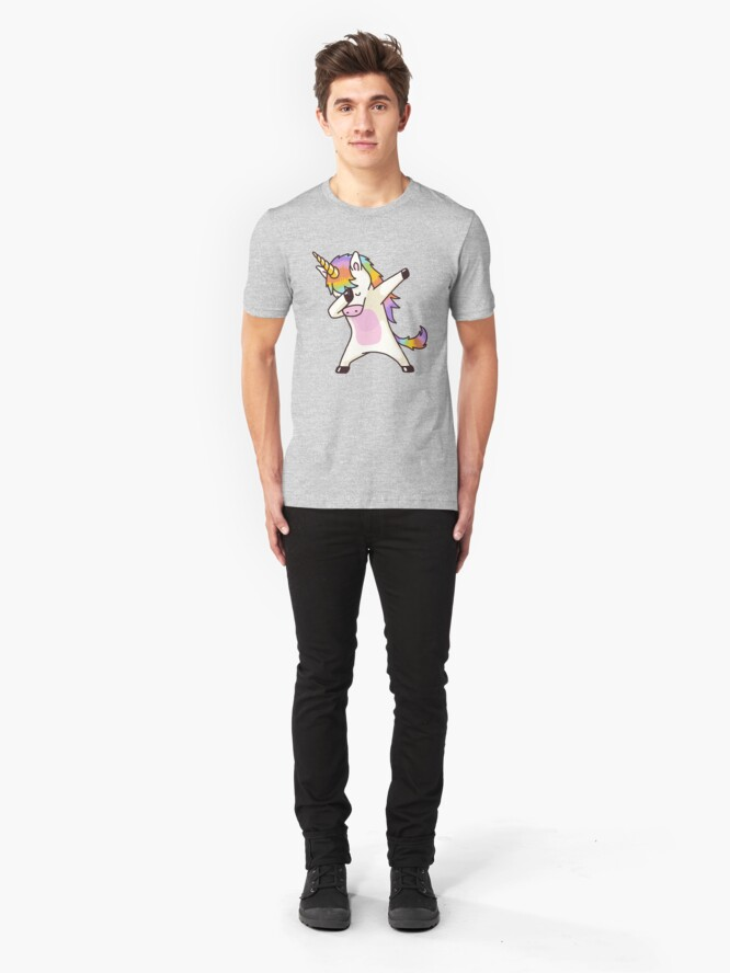 Alternate view of Dabbing Unicorn Shirt Hip Hop Dap Pose Slim Fit T-Shirt