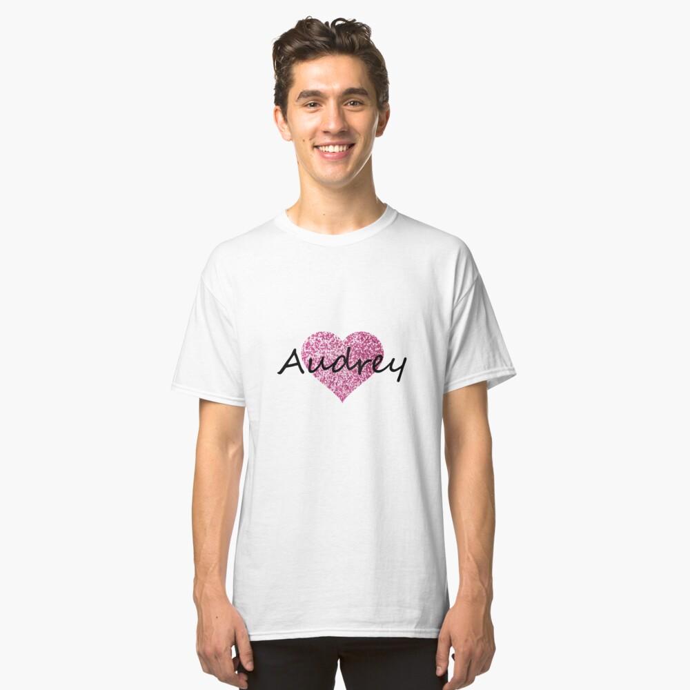Audrey pink glitter heart Classic T-Shirt Front