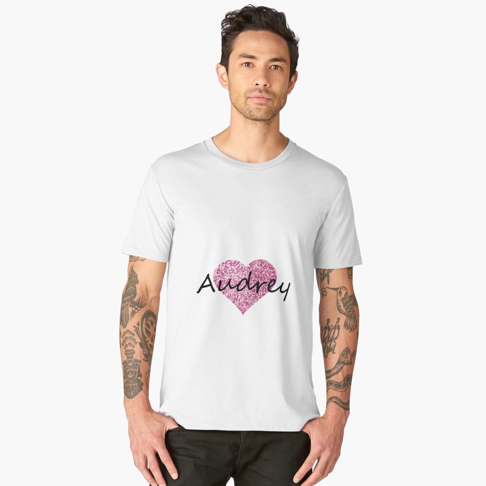 Audrey pink glitter heart Men's Premium T-Shirt Front