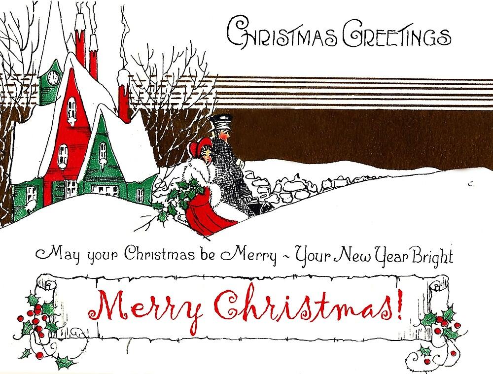 Christmas greetings, vintage holiday postcard by AmorOmniaVincit