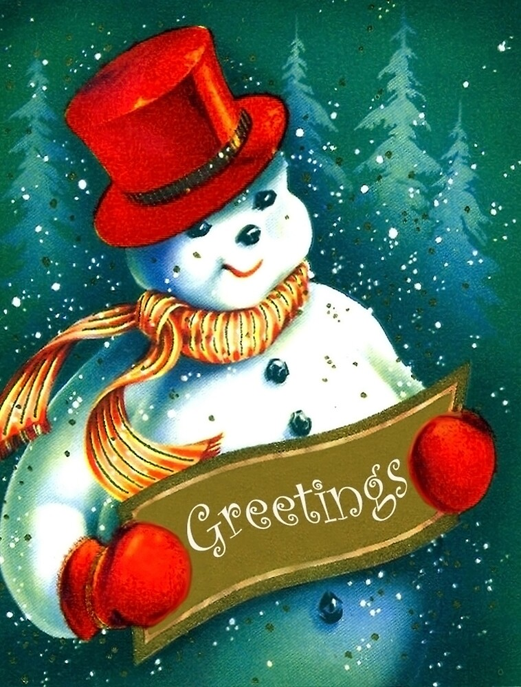 Holiday greetings from red hat snowman by AmorOmniaVincit