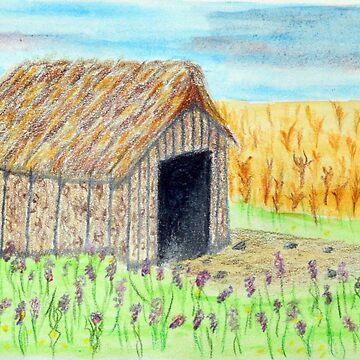 Barn in a Field of Fireweed by lisavonbiela
