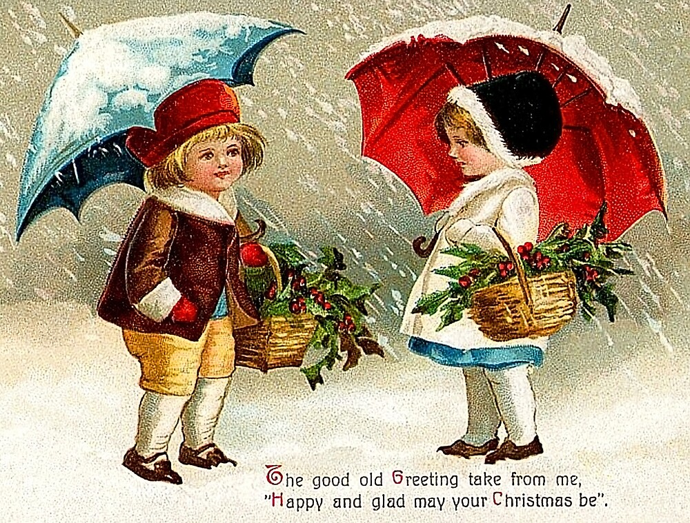 Merry Christmas from a little boy and a girl, vintage greeting card by AmorOmniaVincit