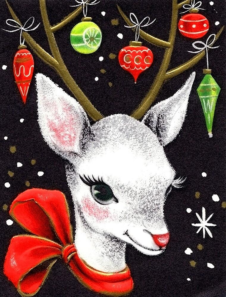 Deer decorated with Christmas bulbs, vintage greeting card by AmorOmniaVincit