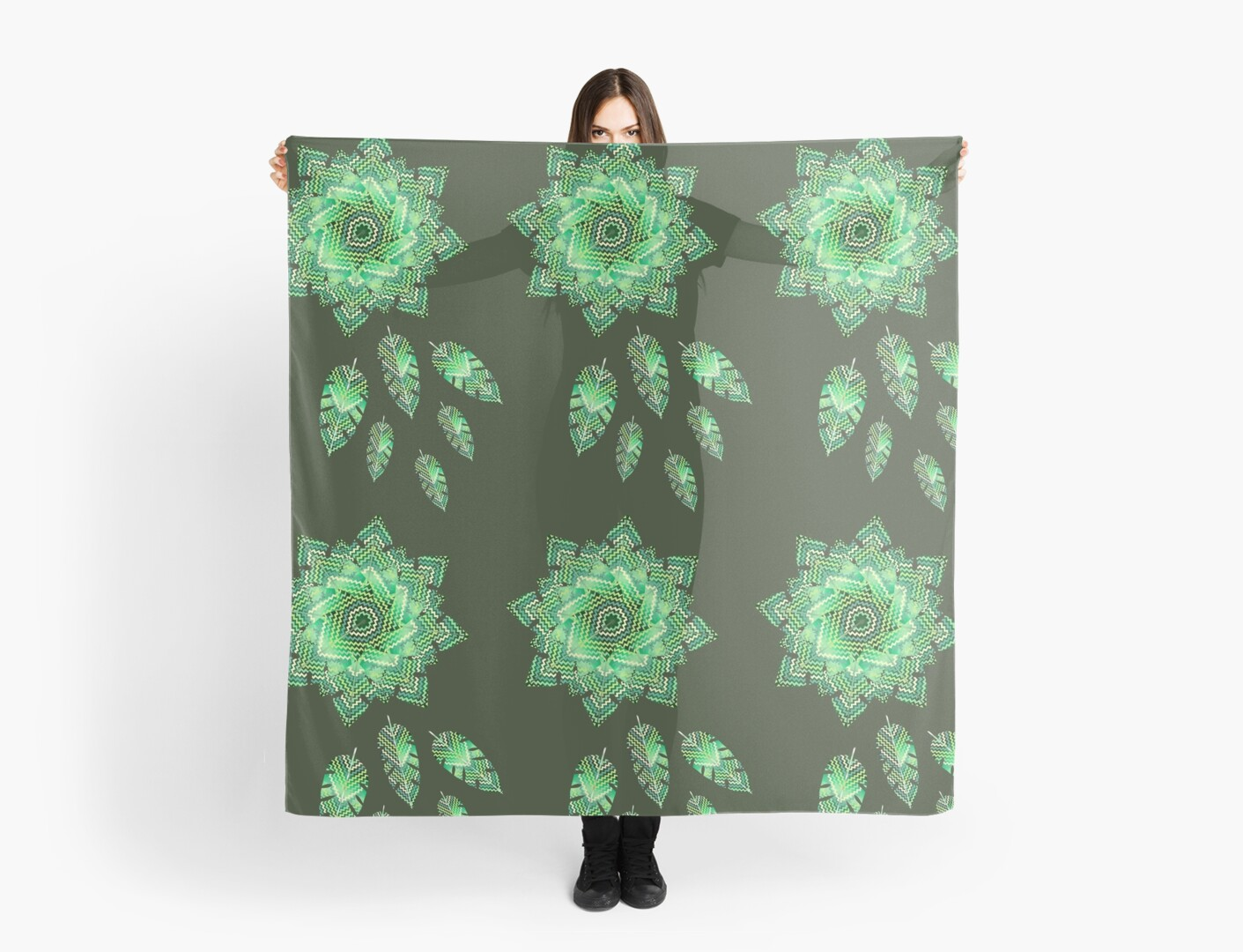 ZIG- ZAG GREEN LEAF MANDALA #4 by sana90