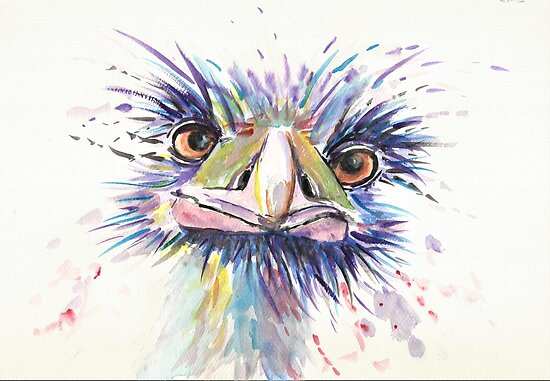 Emu or Ostrich Bird with funny eyes by Marjansart