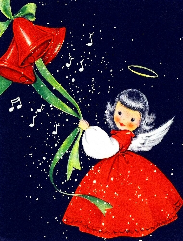 Happy holidays from a little angel girl with bells by AmorOmniaVincit