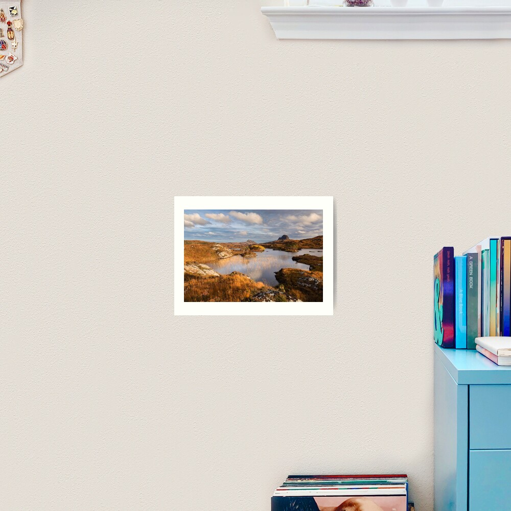 Canisp and Suilven.  Autumn Light. Assynt. Scotland. Art Print