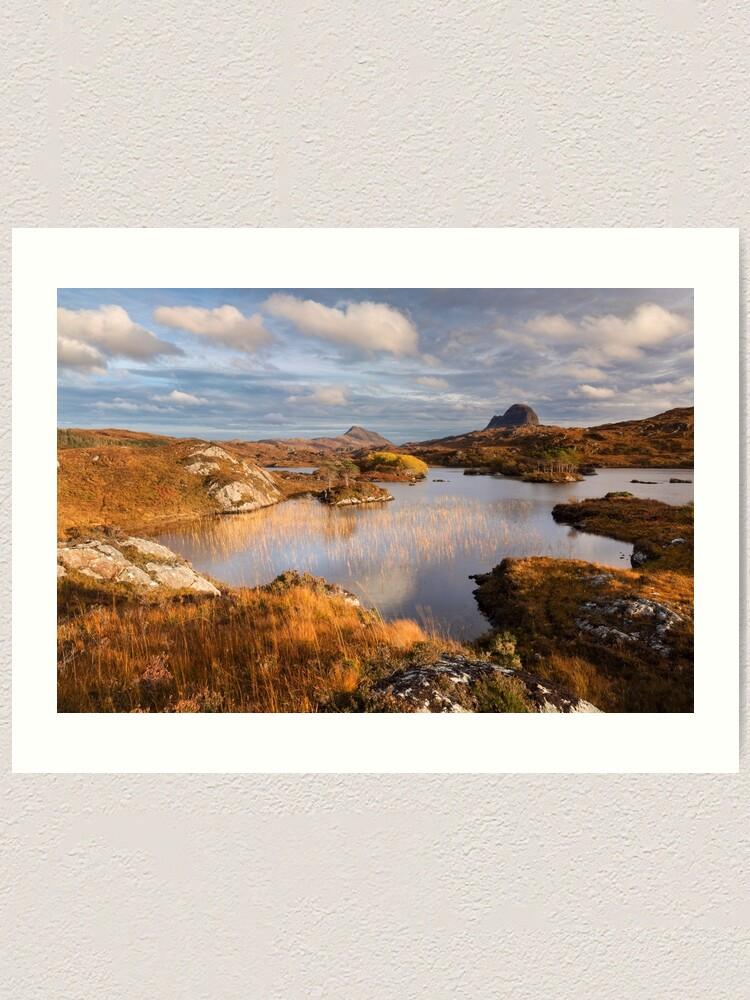Alternate view of Canisp and Suilven.  Autumn Light. Assynt. Scotland. Art Print