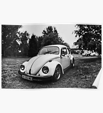 VW Beettle White - B&W Poster