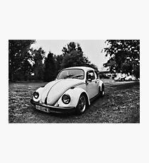VW Beettle White - B&W Photographic Print