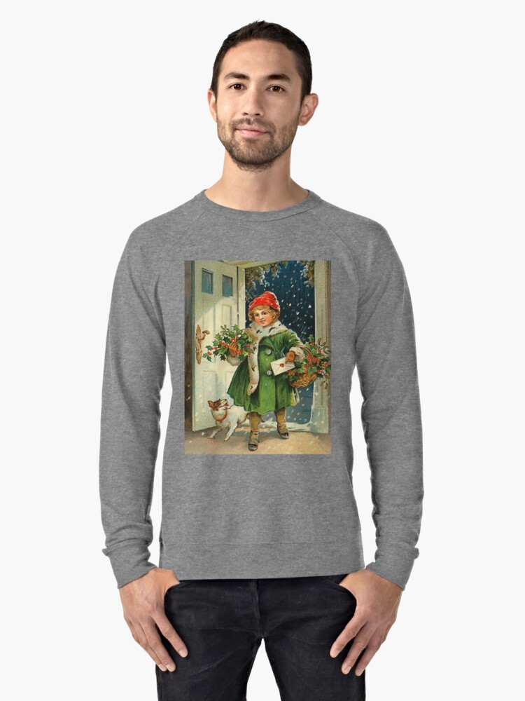 Little girl is bringing Christmas with her small dog Lightweight Sweatshirt Front