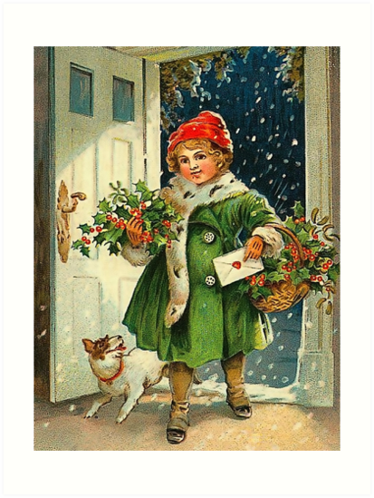 Little girl is bringing Christmas with her small dog by AmorOmniaVincit