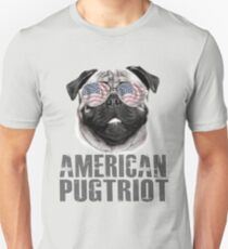 American Pugtriot USA Flag Patriot 4th Of July Funny  T-Shirt