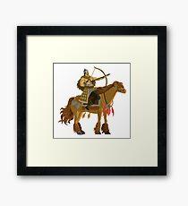 mongolian rider archer with bow and arrow calvary Framed Print