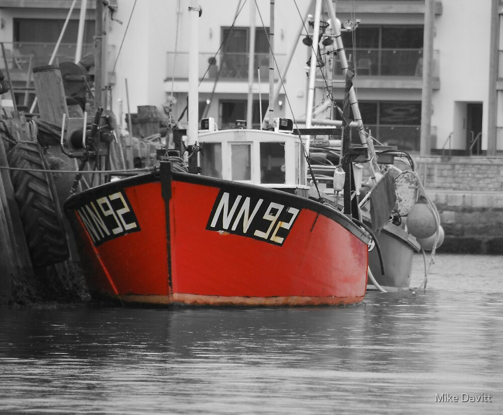 A little red fishing boat by Mike Davitt