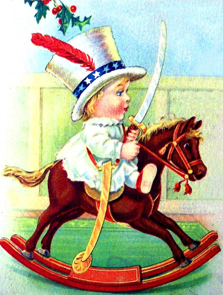 Happy kid on wooden horse, vintage holiday greeting card by AmorOmniaVincit