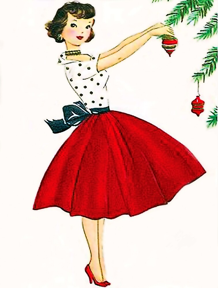 Young woman decorating Christmas tree, vintage greeting card by AmorOmniaVincit
