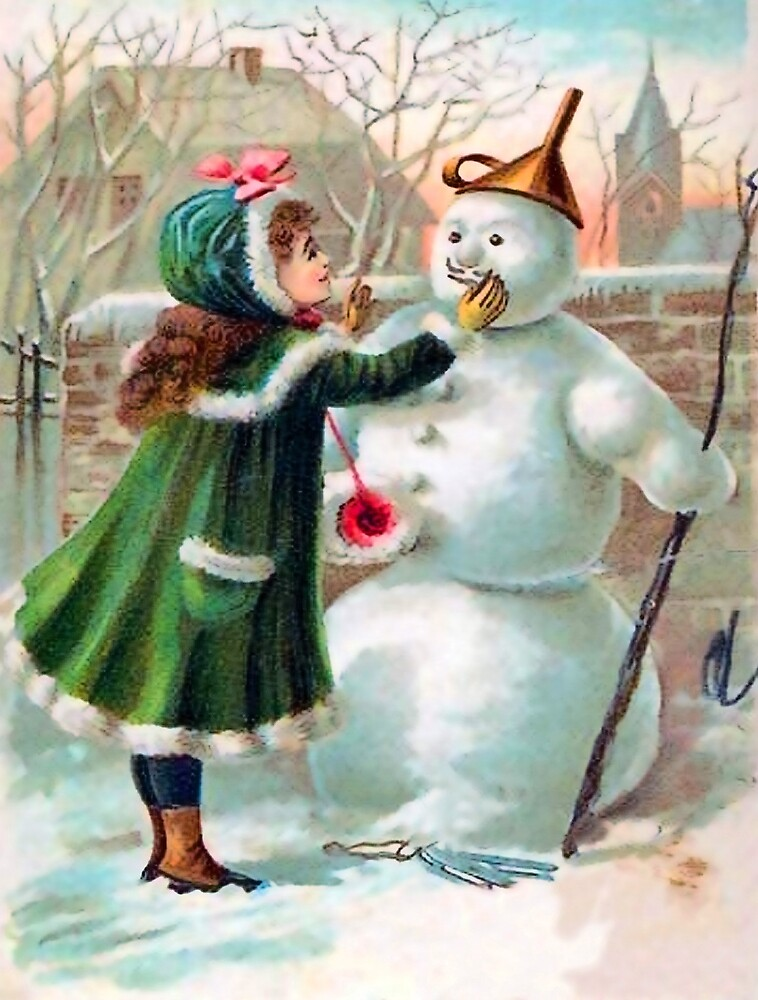 Little girl with her snowman friend, vintage winter greeting card by AmorOmniaVincit