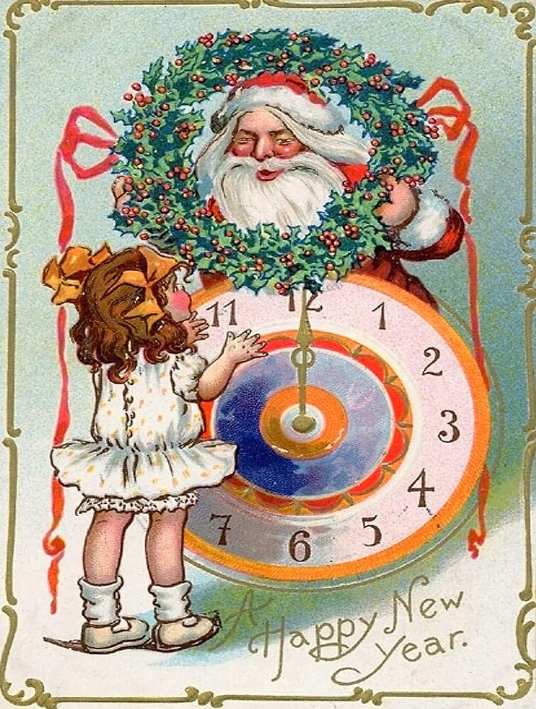 Happy New Year little girl, vintage greeting card by AmorOmniaVincit