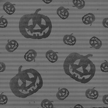 Pumpkin Stripe Black & White Halloween by lollylocket