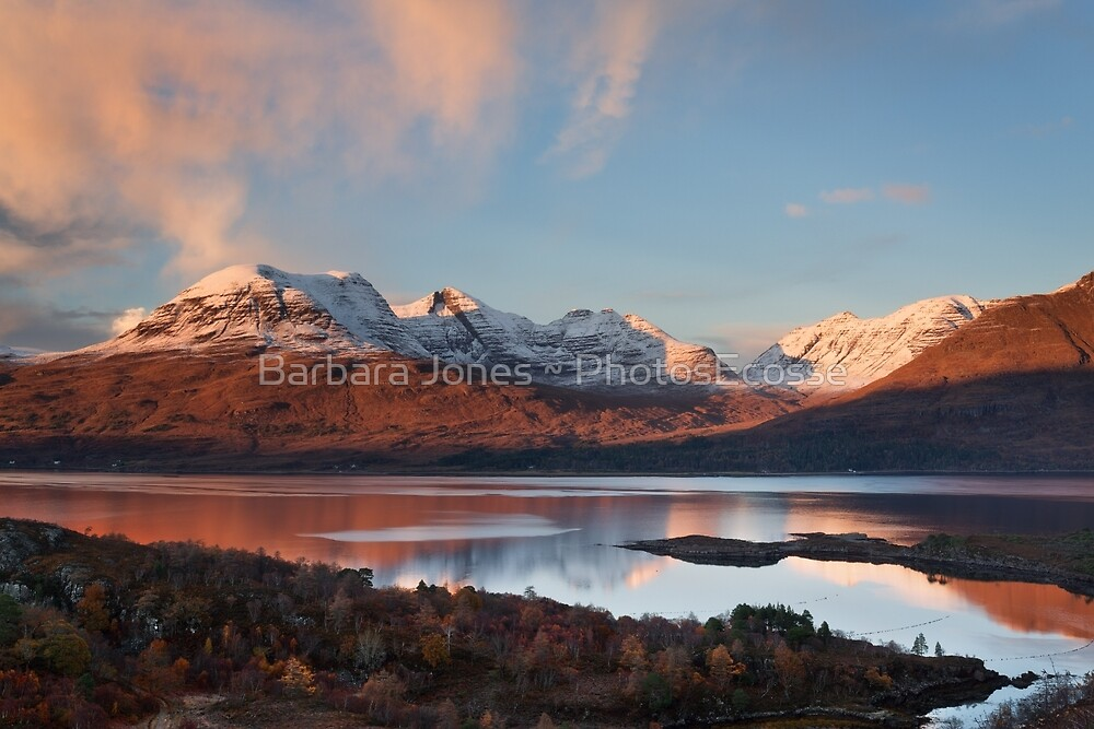 Beinn Alligin.  A Winter Sunset. Loch Torridon. Wester Ross. Scotland. by Barbara  Jones ~ PhotosEcosse