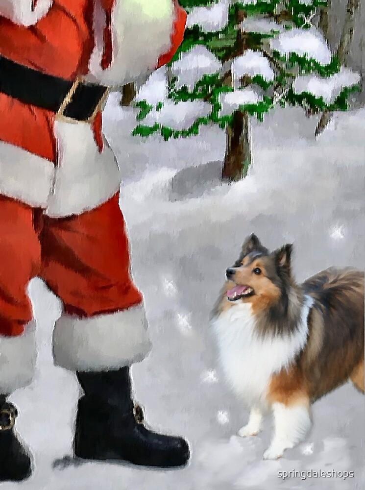 Shetland Sheepdog Sheltie Meets Santa Christmas Gifts by springdaleshops