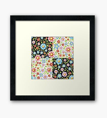 Millefiori Floral Checks Framed Print
